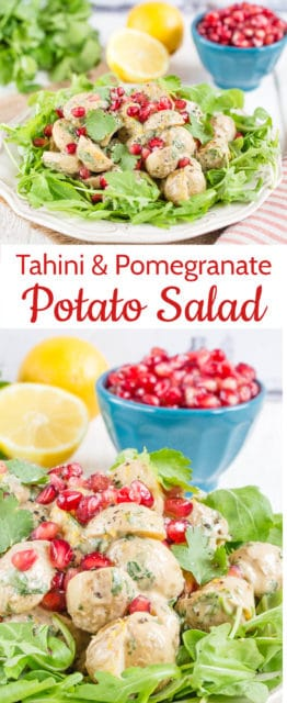 This no mayonnaise potato salad with tahini and pomegranate seeds is a great change from standard recipes. Studded with jewels of pomegranate seeds, it both looks and tastes fresh and summery. Perfect for your summer BBQs and potlucks