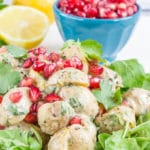 No mayonnaise potato salad with tahini and pomegranate is a delicious alternative to the traditional recipes for summer potlucks and BBQs