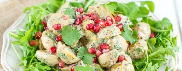 Delicious no mayonnaise potato salad with tahini and pomegranate