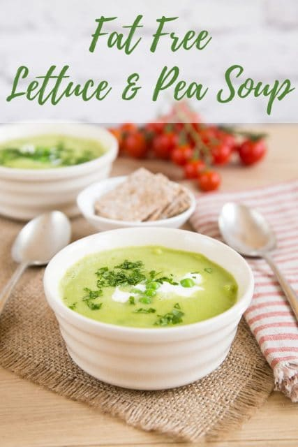 A white bowl of pale green lettuce and pea soup. Text overlay reads Fat free lettuce and pea soup