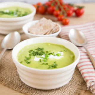 This delicious pea and lettuce soup is fat free and very easy to make. Perfect for summer.