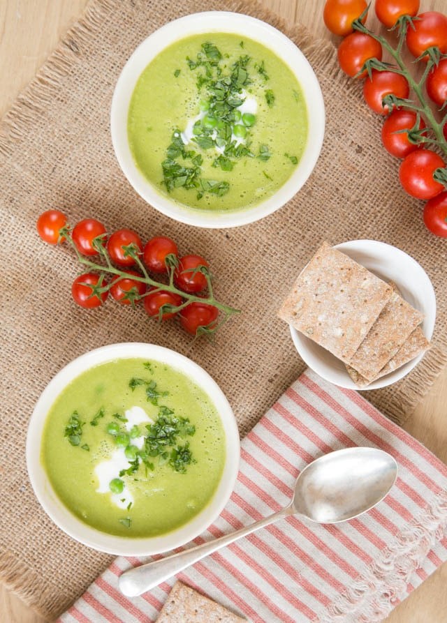 Simple and delicious pea and lettuce soup that's fat free too.