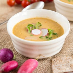 Delicious leftover salad soup is the perfect way of making wilted salad tasty. Quick and easy, too!