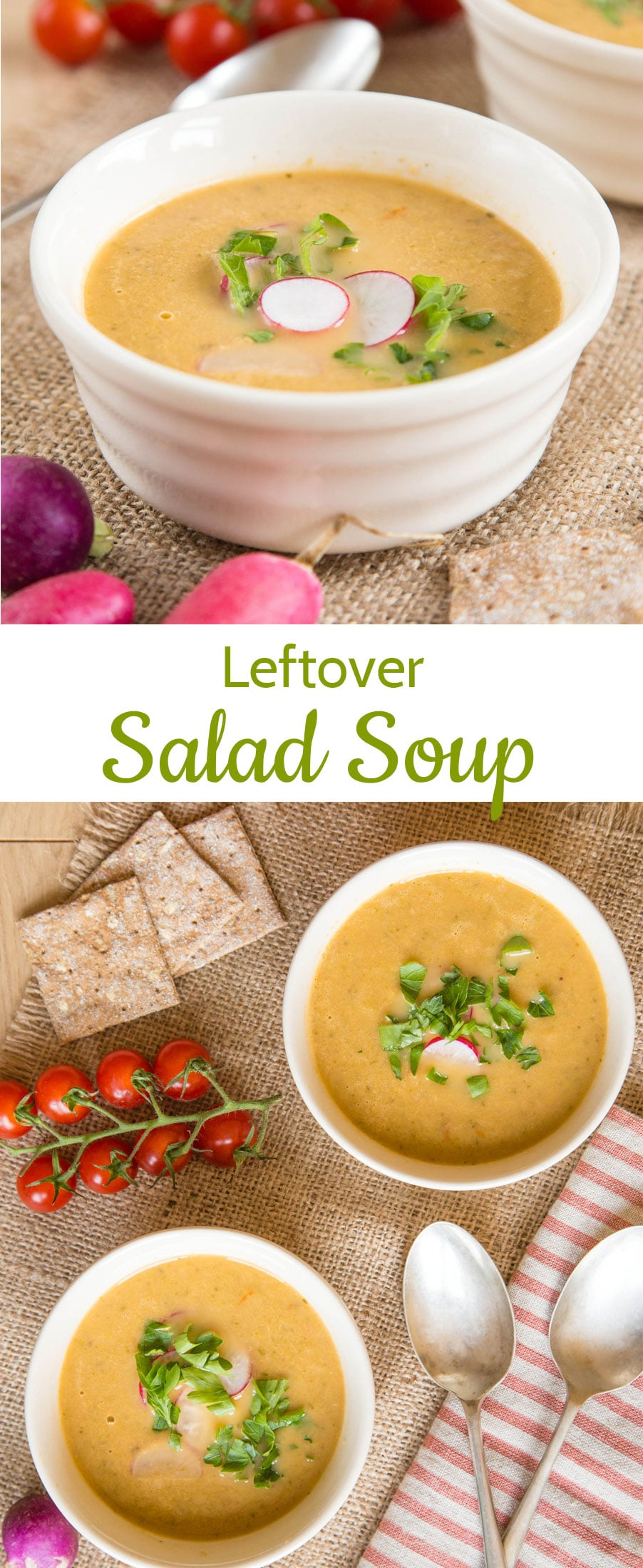 This delicious leftover salad soup is the perfect answer when wondering what to do when you have too much dressed salad. It's quick and easy to make, tastes great and cuts food waste too.
