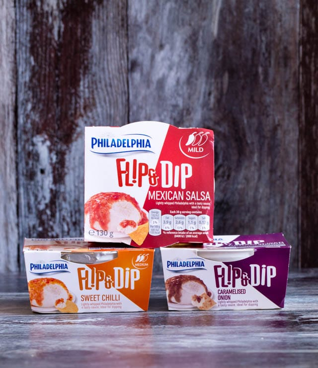 Philadelphia Flip and Dips come in three great flavours: Mexican Salsa, Sweet Chilli and Caramelised Onions