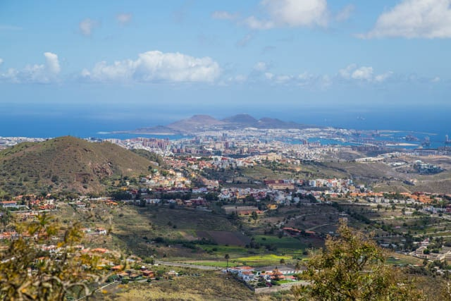 View from the hills towards Las Palmas Gran Canaria