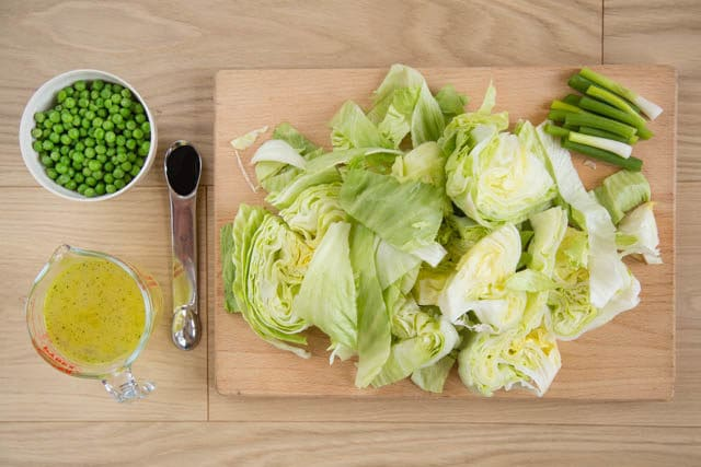 Ingredients for delicious pea and lettuce soup, easily made in a blender