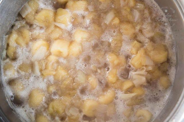 Half cooked banana chutney