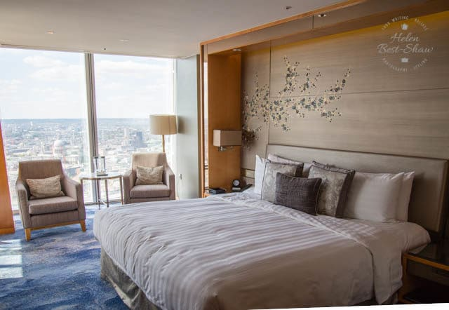 Bedroom at the Shangri La Hotel London at the Shard