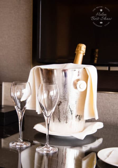 Welcome champagne at the Shangri La hotel London Shard