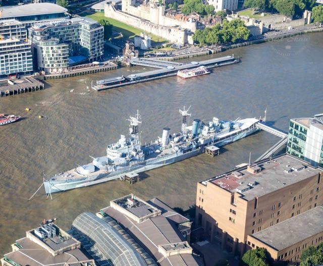 HMS Belfast from the Shangri-La Hotel, The Shard, London