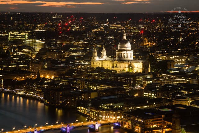 The View from Shangri La London atThe View from Shangri La London at the Shard - St Pauls at night
