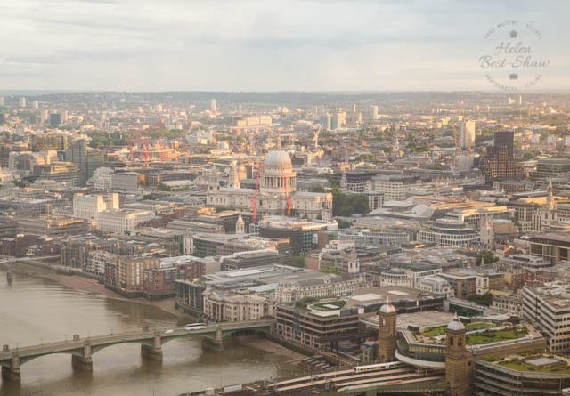 The View from Shangri La London at the Shard - morning light on St Pauls