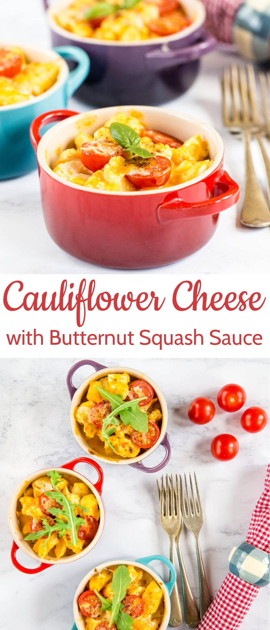A delicious cauliflower cheese with added veg from a roast butternut squash cheese sauce. It's gluten free too!