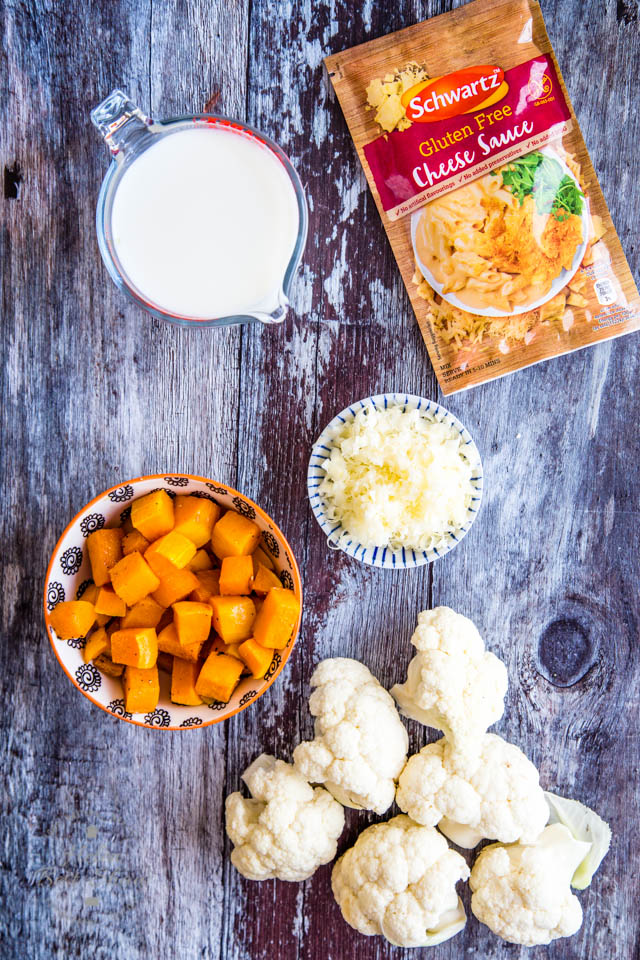 Simple ingredients for delicious gluten free cauliflower cheese with butternut squash sauce
