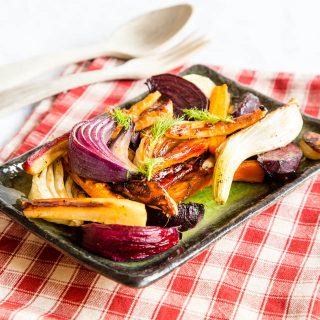 Honey and sherry glazed roast vegetables three ways