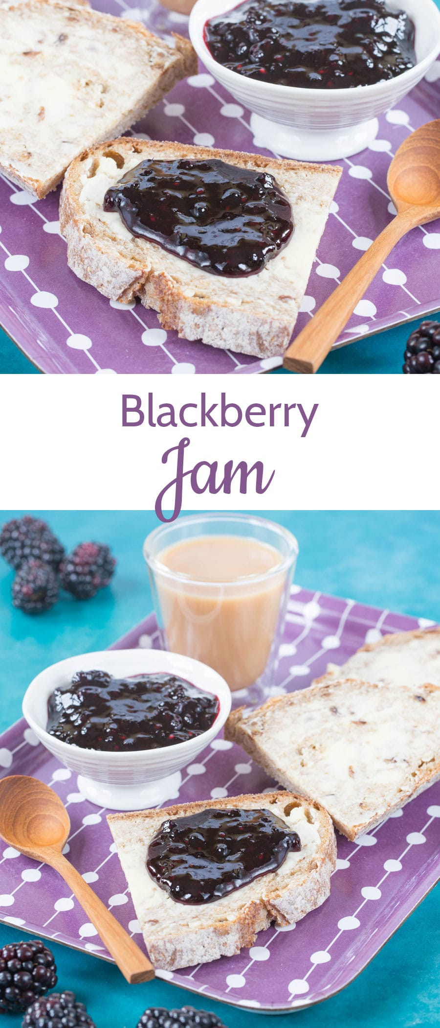Easy & delicious small batch blackberry jam takes no time to make and gives top quality results with a pure, fruit flavour. Small batch jam takes no time either! Makes just two jars. Three ingredients and no added pectin.