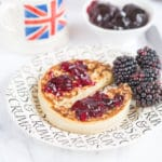 Delicious small batch blackberry and apple jelly. Perfect on a crumpet for a very British tea time treat!