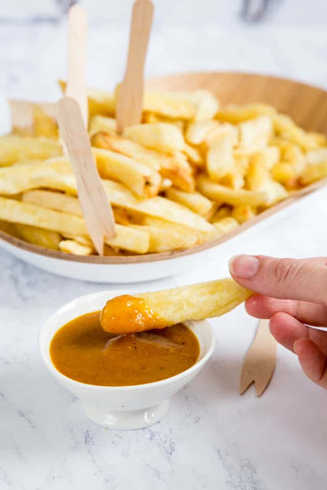 Dip a thick chip into our homemade takeaway Chinese curry sauce for a small but sinful treat
