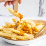 Wickedly good homemade Chinese curry sauce on proper fat chips