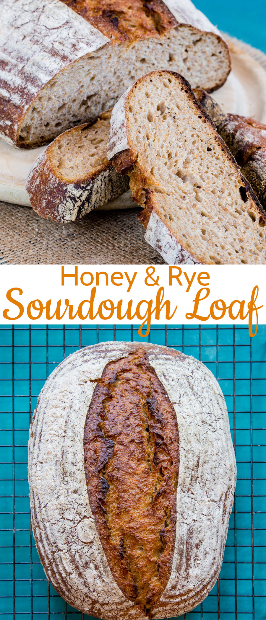 Delicious homemade honey and rye sourdough bread - with a soft crumb and sweet caramalised crust