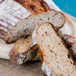 Delicious honey and rye sourdough bread.