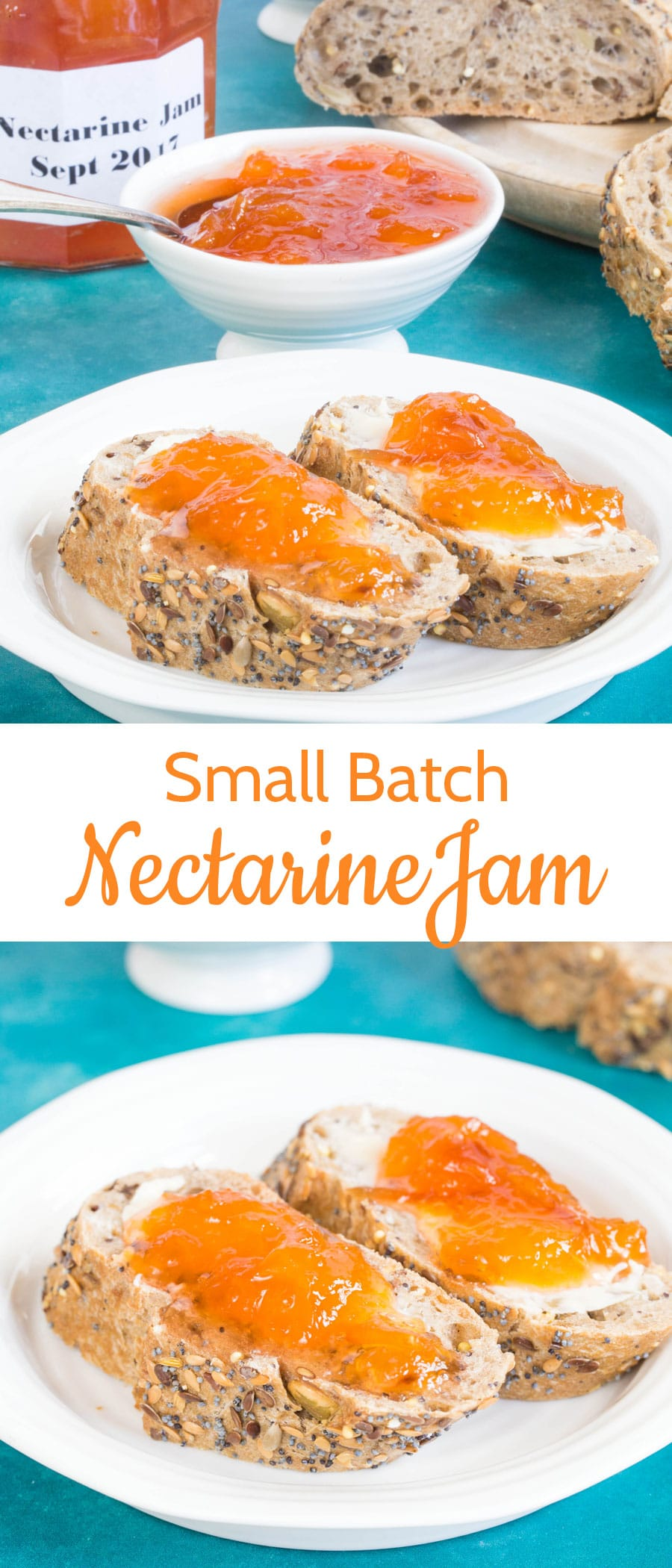 Small batch nectarine jam bursts with delicious flavour; it's quick and easy to make, with no need for preserving pans or specialist equipment. Three ingredients, no added pectin.