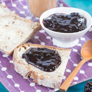 Simple three ingredient blackberry jam. This easy small batch recipe makes just 2 jars.