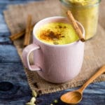Delicious, earthy and vibrant turmeric latte recipe. Especially good served with a sprinkle of cinnamon on top!