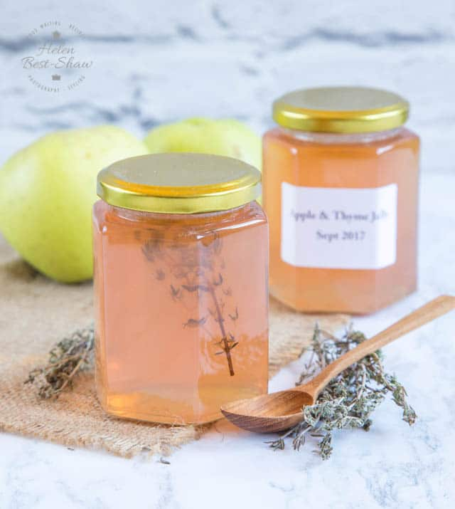 Delicious apple jelly with thyme.