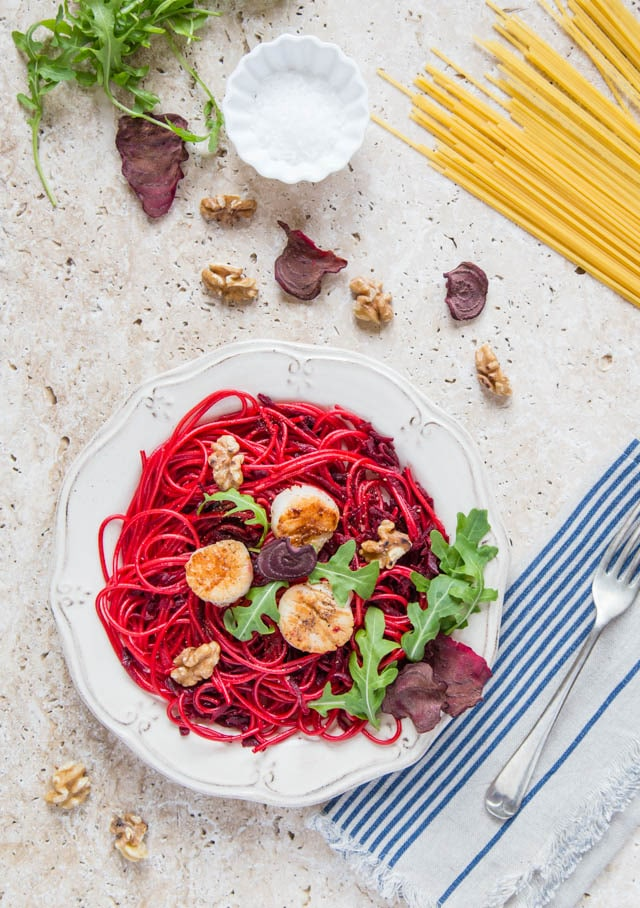Vibrant scarlet beetroot spaghetti topped with scallops. A simply but so impressive supper dish.