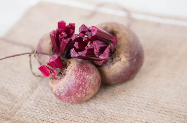 Bunch of fresh beetroot on a piece of hessian