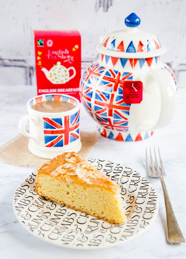 A perfect cup of English Tea Shop English breakfast tea and a slice of cake. Perfect!