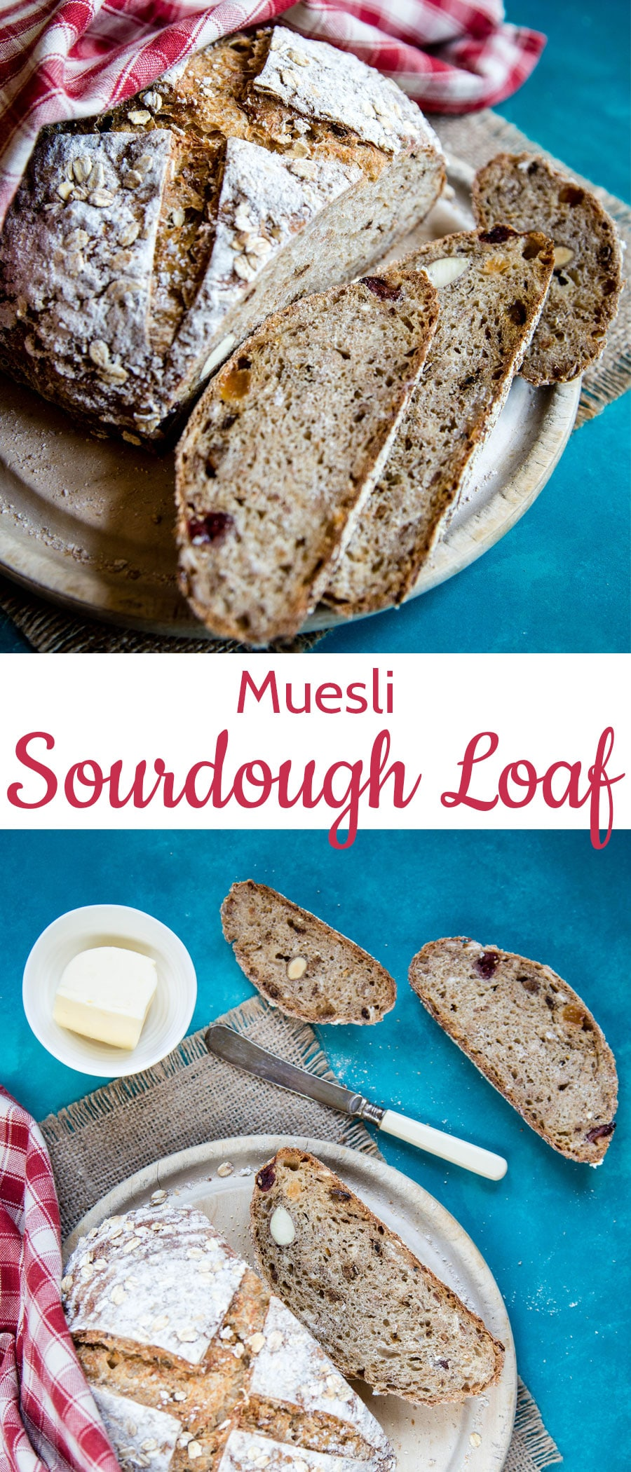 Muesli is an easy source of wholegrain and dried fruit; adding some to a bread like this sourdough gives a delicious and wholesome loaf, just waiting for some tasty jam.