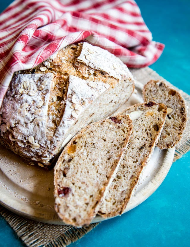 A loaf of hearty and filling muesli sourdough bread.