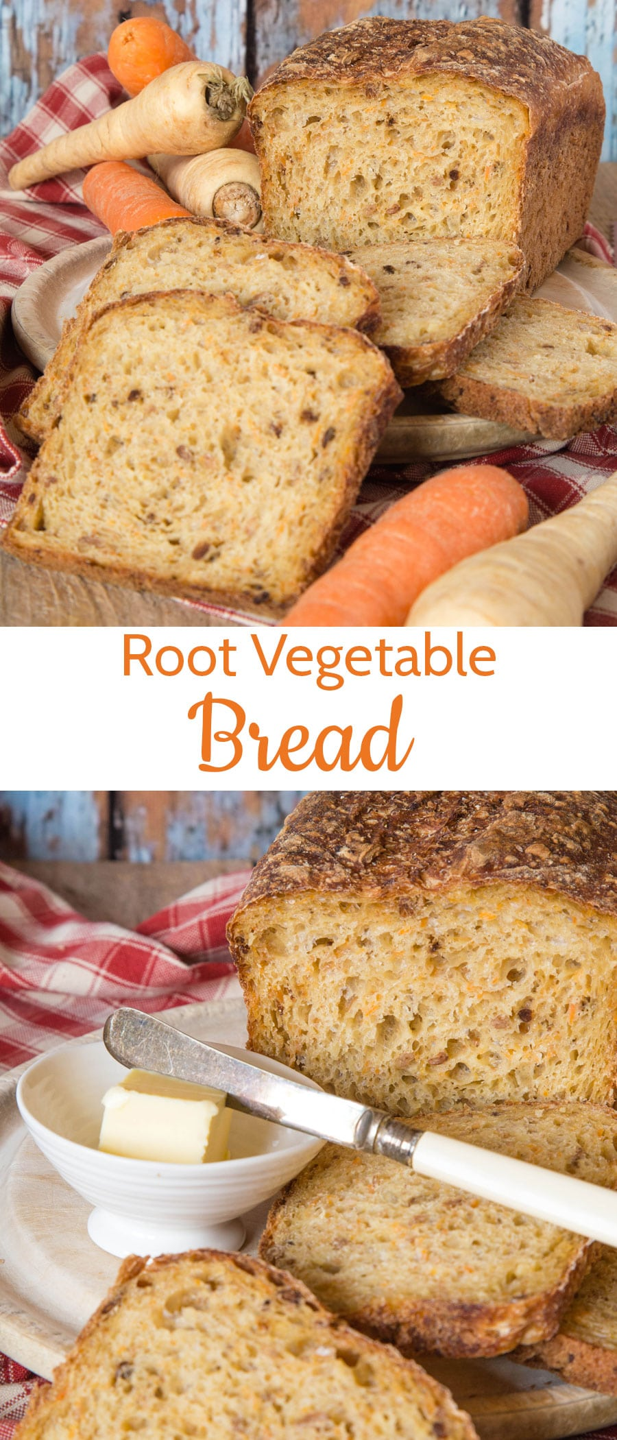 A delicious loaf of root vegetable bread.