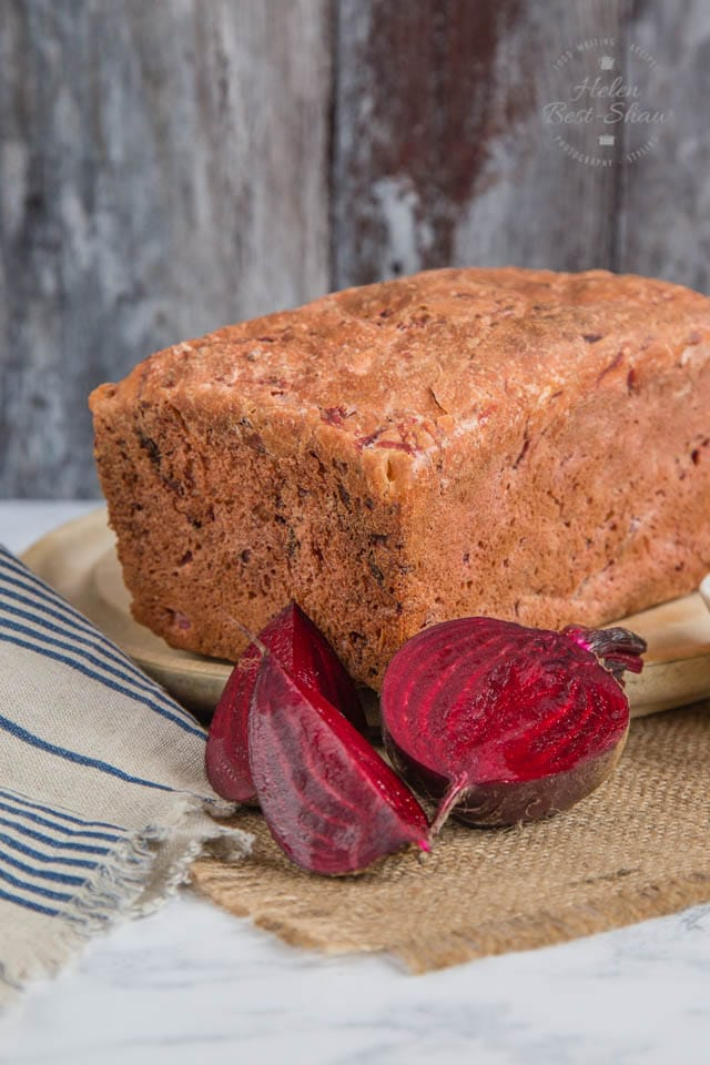 A demure exterior hides a surprising interior in our delicious beetroot bread