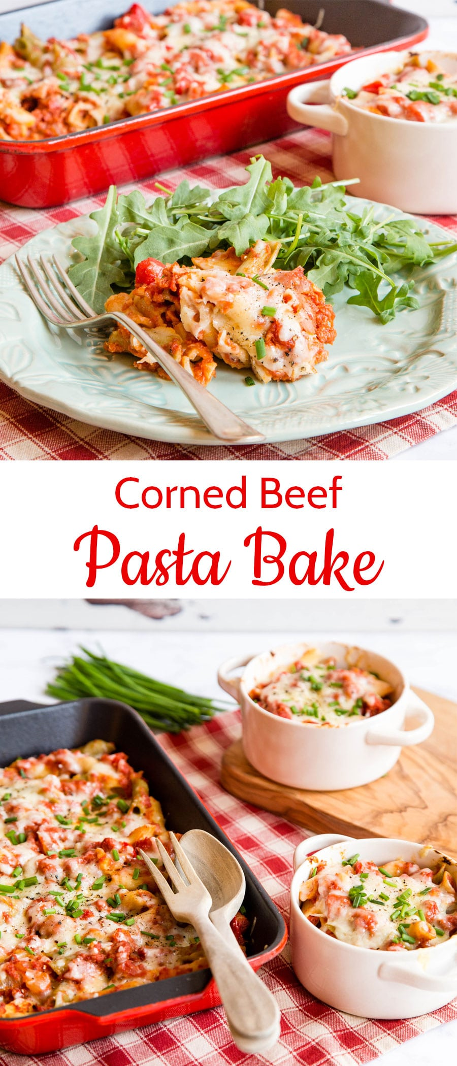 Corned beef pasta bake - this easy recipe for a pasta bake with corned beef can be made ahead of time, kept in the fridge or freezer and then baked for a family friendly winter warming dish. Make a double batch of the corned beef ragu for a baked potato filling.  Cook once and eat twice.