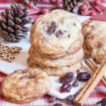 A delicious stack of snickerdoodle biscuits; a cinnamon dusted Christmas treat, here made with chocolate chips and cranberries.