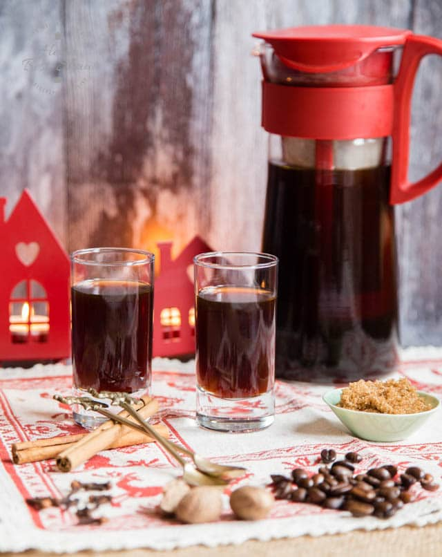 Two delicious glasses of spiced homemade festive coldbrew coffee