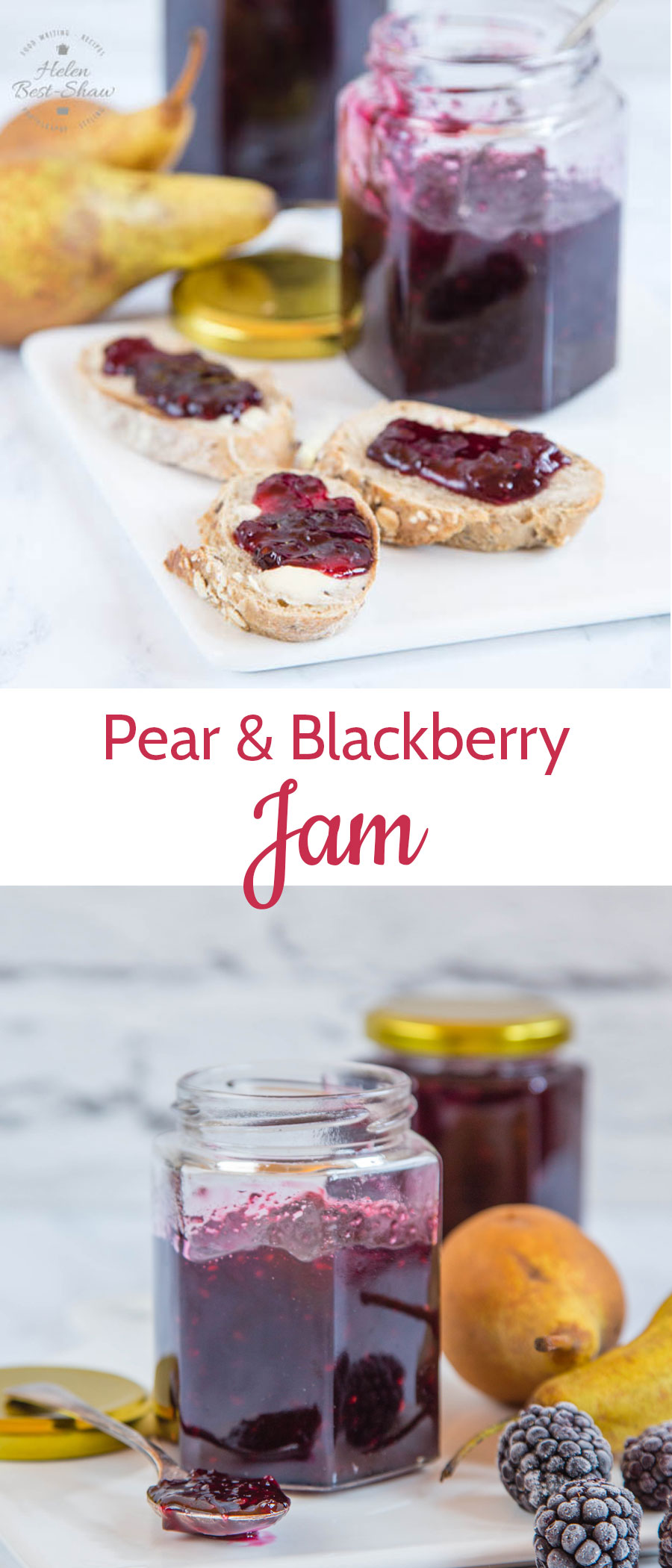 This easy recipe for pear and blackberry jam is an easy twist on the more usual blackberry and apple jam recipe. Small batch makes jam making easy as well as delicious! Three ingredient & no pectin.