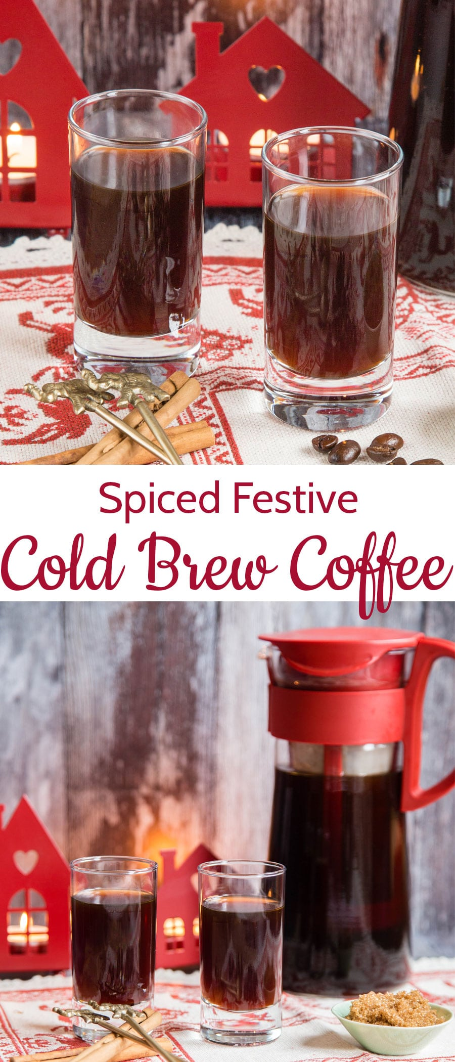 Homemade spiced festive cold brew coffee is easy to make and a fashionably different drink. Seasonally spiced, naturally sweet and delicious - enjoy the coffee shop experience at home for a fraction of the price.