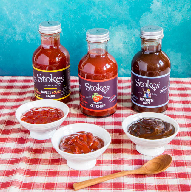 Stokes sauces - tomato chutney, brown sauce and sweet chilli sauce.