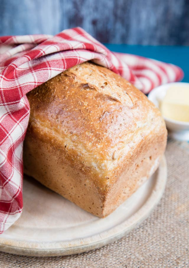 A loaf of yeasted kefir bread, made with home-fermented kefir.