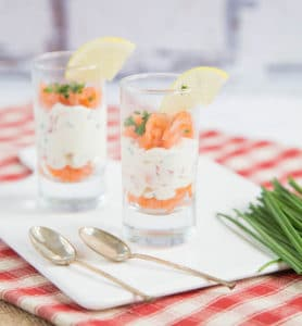 Simple, quick and easy smoked salmon and cheese layered verrines