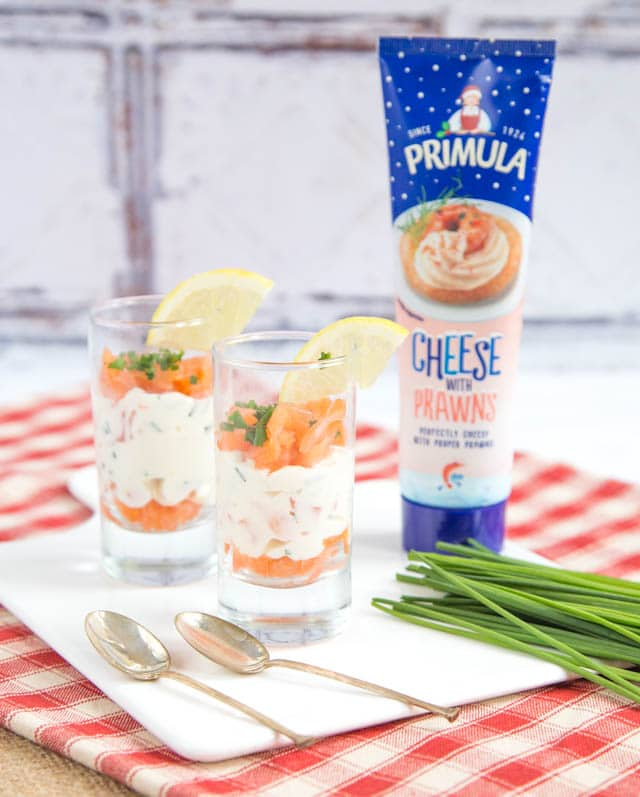 Delicious layered smoked salmon verrines made with Primula Cheese with Prawns.
