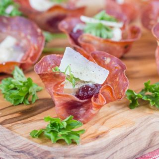 Close up of Salami canape cup