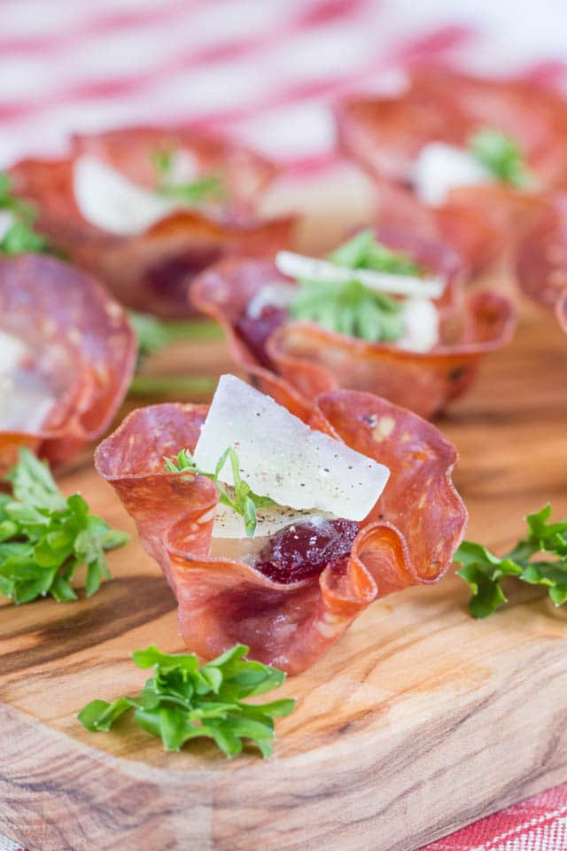 closeup of salami canape case