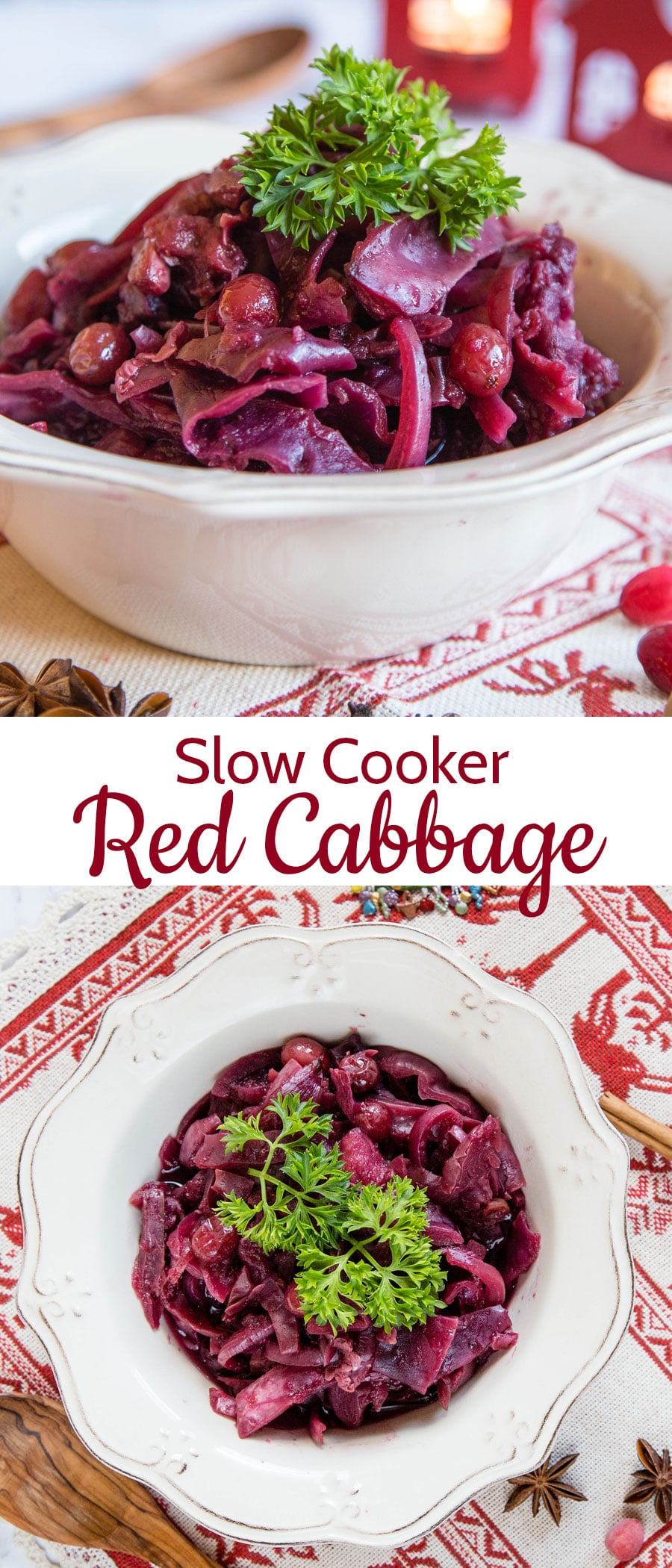 Slow cooker red cabbage close up in bowl