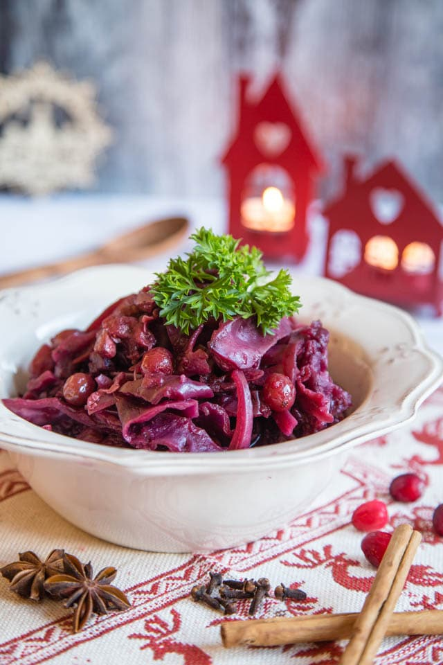 Festive spiced slow cooked red cabbage served in a bowl